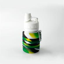 Garrafa de água dobrável dos esportes do silicone plástico das tampas