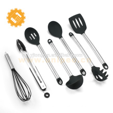 Professional or home cook 8 Piece Kitchen Cooking Utensils Nonstick Utensil Set Silicone and Stainless Steel Kit