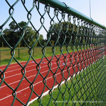 Цепи PVC покрытая сетка звена забор в зеленый цвет