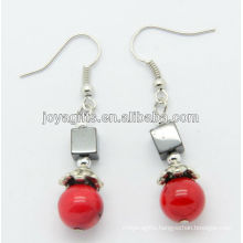 Wholesale red coral with hematite square earring