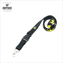 Advertising Black Color Thick Polyester Material Custom Printed Lanyard
