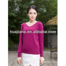 Inner Mongolia 100% cashmere woman's V neck sweater