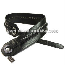 women's PU belt with black PU, clear rhinestones, alloy accessories, gun-metal plated