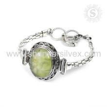 Splendid woman bracelet prehnite gemstone jewellery 925 sterling silver bracelet online silver jewelry supplier
