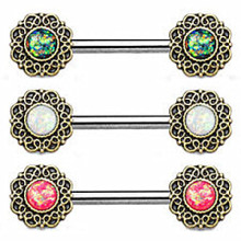Tribal Hearts Rings Straight Barbell with Opal