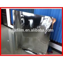 Color plateado Alto aluminio reflectante alu metalizado PET Película de poliéster