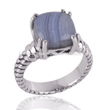 Blue Lace Agate shiny Stone & Sterling Silver Prong set Simple Silver Ring