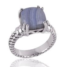 Голубой кружевной Агат блестящий камень & стерлингового серебра зубец простое серебряное кольцо