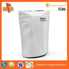 La aduana caliente del precio de fábrica de la venta imprimió el soporte para arriba el bolso de plata del papel plástico para el té y el café