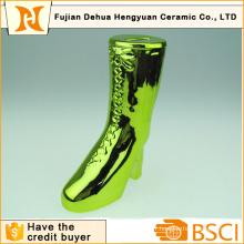 Plating Ceramic Boot Shape Piggy Bank