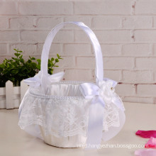 Elegant bridal satin decoration lace accessories wedding flower girl basket