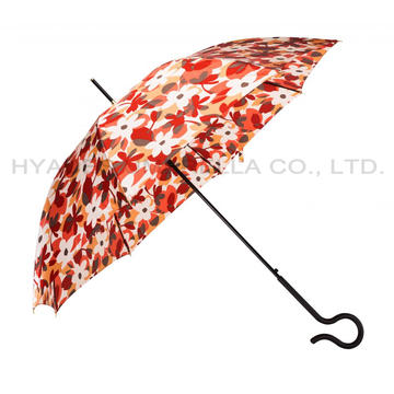 Windproof Damen Satin Auto Open Straight Umbrella