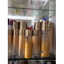 Frasco de óleo cosmético de plástico para animais de estimação com cor gradiente dourado