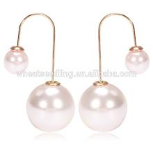 2015 newest design hot selling personalized women double pearl long hook earrings