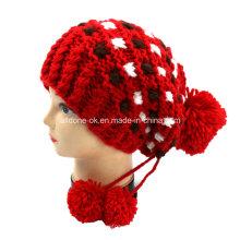 Chapéu de pirata de malha de mão, chapéu de inverno de malha, chapéu quente Bonnet