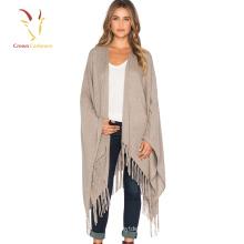mode frange femmes nouvelle laine poncho tricoté Poncho châle en gros