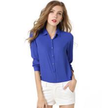 Mais recentes padrões de blusa top formal para senhoras cor pura mangas compridas soltas forma chiffon senhora blusa
