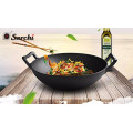 Discount product Cast iron Wok Flat bottom Pre-seasoned