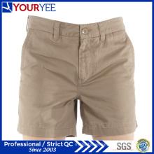 Corto de peso ligero de algodón de color caqui algodón twill mujeres pantalones cortos (YGK116)