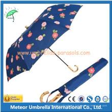 Promoción mango de bambú manual 2 paraguas de lluvia plegable