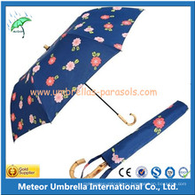 Промотирование Bamboo Handle Manual 2 Складной зонтик дождя