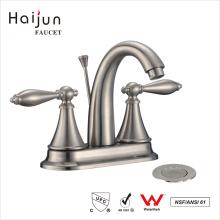 Haijun China Manufacturer Dual Handle Deck Mounted Bathroom Basin Mixer Faucet