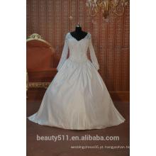 EM STOCK manga longa v-pescoço vestido de noiva vestido de noiva vestido de noiva SW04