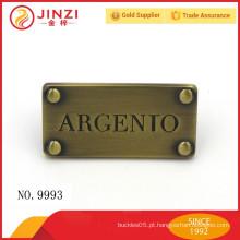 Anti-bronze Estilo régio clássico personalizou letras gravadas metal etiquetas