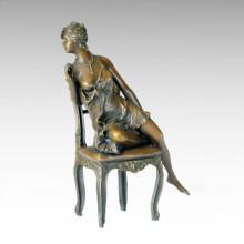 Classical Figure Statue Chair Lady Bronze Sculpture TPE-156