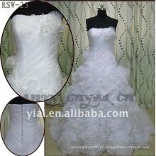 RSW-23 de alta qualidade 2011 novo design senhoras elegantes elegante ruffle personalizado vestido de noiva