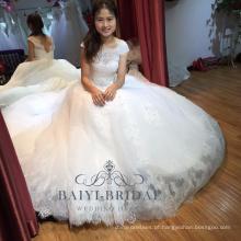 A-Line árabe frisado vestido de renda casamento para menina robe de mariage
