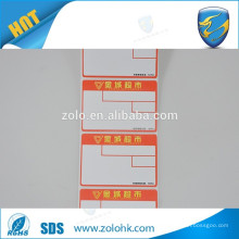 adhesive custom waterproof thermal paper label surpermarket cash use