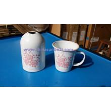 Sunboat European Style - Florero de esmalte de porcelana, flor seca