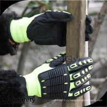SRSAFETY рабочие перчатки противоударные перчатки / 13-дюймовый трикотажный нейлон + UHMWPE + стекловолоконный нитрил с покрытием нитрила на ладони, песчаная отделка