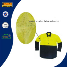 Fluro Yellow Cotton Drill Summer Long Sleeve Shirt Safety Workwear with Mesh Vent