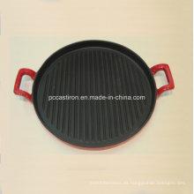 Plancha de hierro fundido redondo para el filete