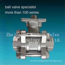 New Design ISO 5211 Pad 3PC Threaded Ball Valve Dn15