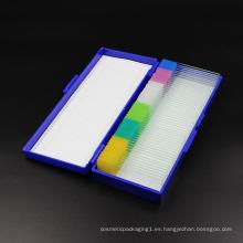 Caja de almacenamiento de portaobjetos de microscopio de plástico