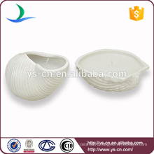 Yongsheng Embossed White Shell Shape Ceramic Candle Holder For Decoration