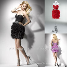 Sweetheart Column Black Lilac Tiered Mini Short Crystal Ceinture Homecoming Dress Graduation Gowns