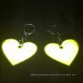 Cheap custom heart shape reflective hanger keychain souvenir