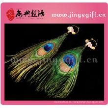 Colgante bling moldeado hecho a mano con plumas de ojo de pavo real