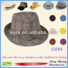 LSF84 Ningbo Lingshang Brown barato al por mayor comprobó el sombrero unisex de Fedora