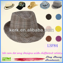 LSF84 Ningbo Lingshang Wholesale Cheap Brown Checked Unisex Fedora Hat