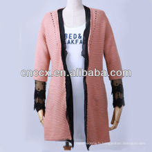 13STC5493 manteau long en cardigan orné de dentelle