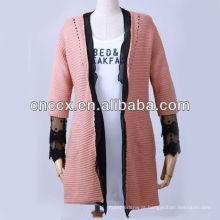 13STC5493 rendas embelezadas longo casaco cardigan sweater