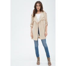 Women Long Sleeves Drapey Trench Jacket