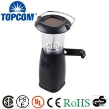 6 LED Portable Hand Crank Torch Light 3W Solar Camping Lantern