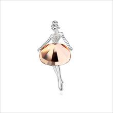 Bailarina de cristal de moda VAGULA broche de plata