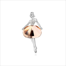 VAGULA Crystal Fashion Dancer Silver Brooch